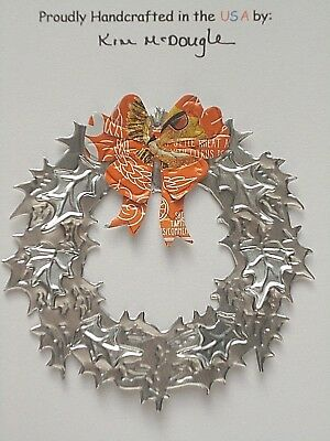 Wreath Christmas Tree Ornament Handmade Recycled Aluminum Metal Shock T Beer Can