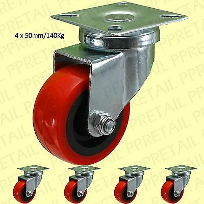 """4x SWIVEL RED PU CASTOR WHEELS 50mm/2"""" Strong Dolly/Trolley Casters HOLDS 140Kg"""