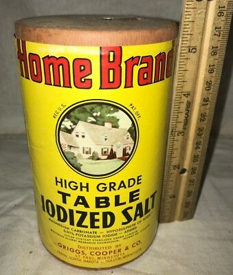Antique Home Brand Table Salt Box Tin Spout Griggs Cooper Grocery Store Vintage