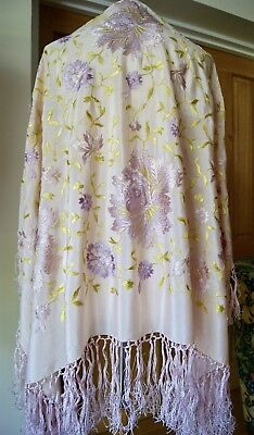 Antique/vintage Pale Pink Embroidered Silk Shawl With Fringe