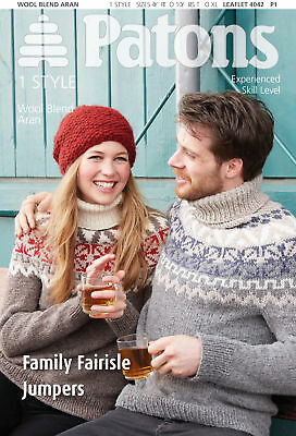 1x Patons Pattern Family Fair Isle Jumpers Sewing Craft Tool Hobby Art