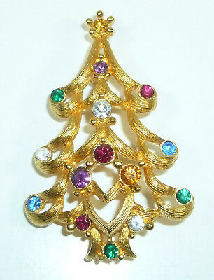 Christmas Tree Brooch Pin by Monet, Goldtone with Colorful Rhinestones