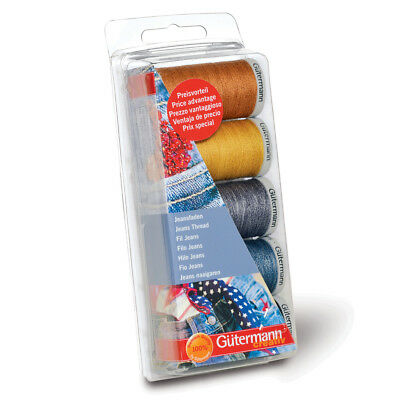 1x Thread Set Jeans 3x100m 2x200m Blues & Golds Sewing Craft Tool Hobby