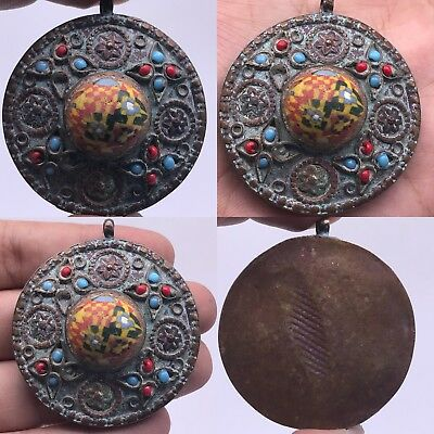 Very Old Mosaic Glass Beautiful Unique Bronze Pendant