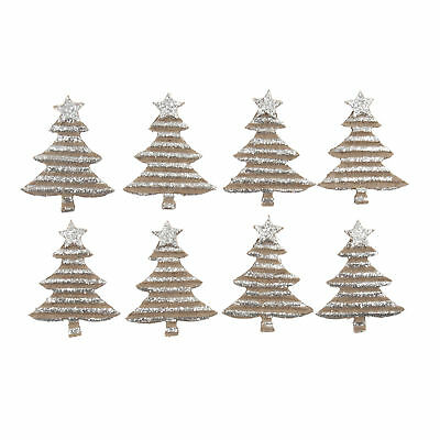 5x Craft Embellishment Glitter Trees Silver PK of 8 Sewing Craft Tool