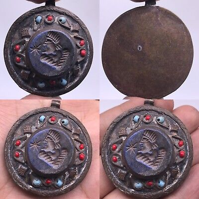 Very Old Face Lapis Lazuli Stone Unique Bronze Pendant