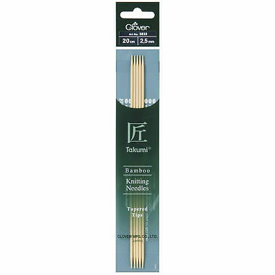 1x Knitting Pins Double-Ended Set of Five Takumi Bamboo 20cmx2.50mm Art