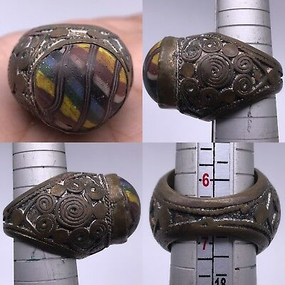 Wonderful Ancient Rare Mosaic Glass Bronze  Ring