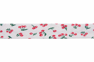 25x Bias Binding Cotton Printed Cherry 25mx20mm Red Sewing Craft Tool