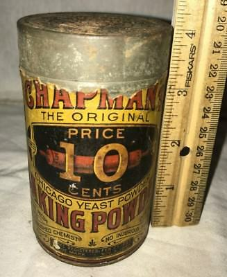 Antique Chapman Baking Powder Tin Rolling Pin Graphic Vintage Baking Grocery Can