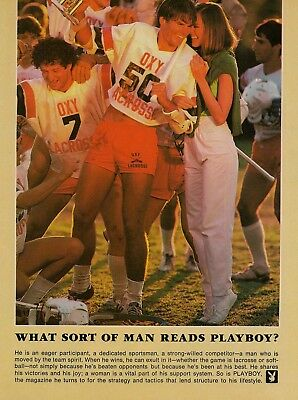 1981 AD What Sort of Man Reads Playboy OXY Lacross Player Vintage Print Advert