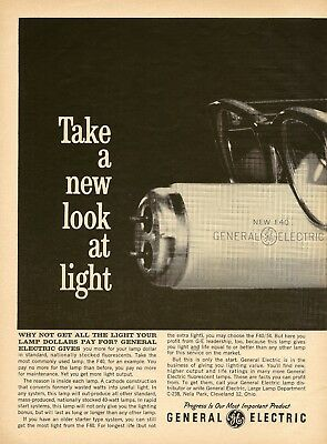 1962 AD General Electric GE Fluorescent Lights Lamps 2-PG Vintage Print Advert
