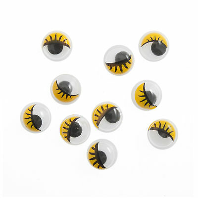 5x Toy Eyes Stick-On Googly Glue-On 10mm Yellow 10 PK Sewing Craft Tool