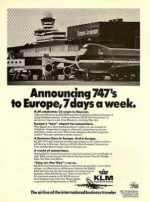 1982 AD KLM Airlines Announces 747 to Europe Amsterdam Airport VTG PRINT ADVERT