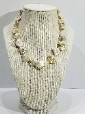 Iridescent Natural Color Mother of Pearl Shell Necklace Sterling Silver