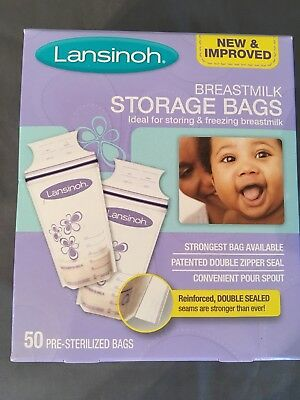 Lansinoh Breastmilk Storage Bags 50 Bags BPA BPS Free Pre Sterilized Freeze New
