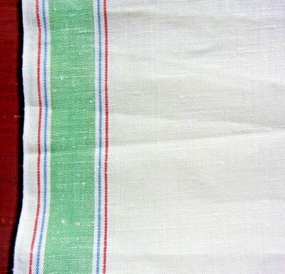 "2 Y VINTAGE LINEN KITCHEN TOWEL FABRIC, Toweling, Multi-Color Stripes, 18-1/2"" W"