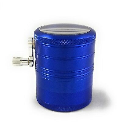 Hand Crank Herb Mill Crusher Tobacco Smoke Grinder 2.5 inch 4 layer CNC Alumium