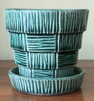 Antique Mccoy Pottery Green Basket Weave Small Size Flower Pot Attached Saucer