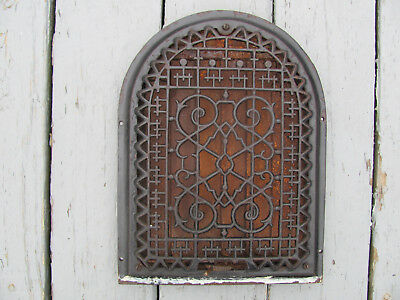 """Vintage Cast Iron Register Vent Grate Arch Dome Top Victorian 14""""H by 10 1/2""""W B"""