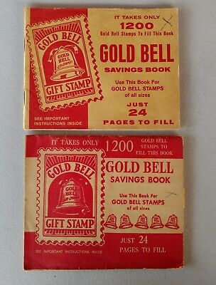 Vintage GOLD BELL Gift Stamp Saving Books Lot of Two (2) Each Hold 1200 Stamps