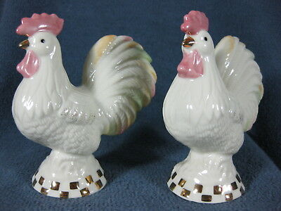 Lenox Roosters Salt and Pepper Shakers Set Boxed Handcrafted