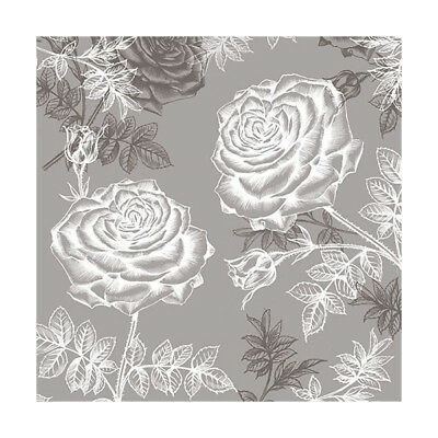 Ambiente 3 Ply Paper Napkins, Etching Roses Grey Floral Flowers Serviettes Lunch