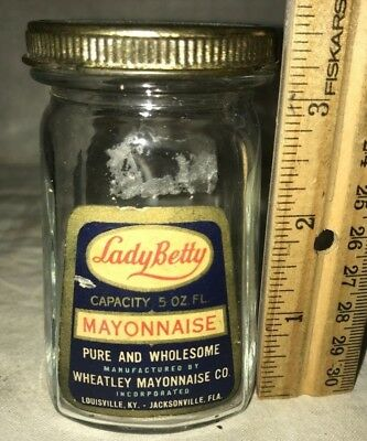 Antique Lady Betty Mayonnaise Mayo Jar Tin Lid Vintage Grocery Jacksonville Fl