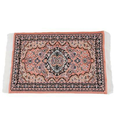 1/12 Dolls House Red Pattern Woven Rug Floor Carpet Coverings Miniature 25*15cm