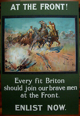 Original WWI British War Poster, At The Front! Every Fit Briton...Edwards 1915