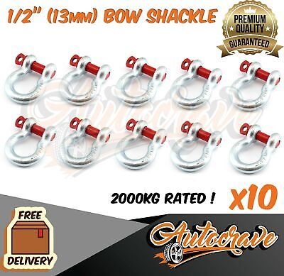 10x RATED BOW SHACKLE 13mm WLL 2000kg S GRADE TRUCK TRAILER CAR TOW 4WD