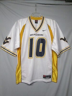 d966ab787 NCAA West Virginia Mountaineers   10 White Nike Football Jersey Size Large
