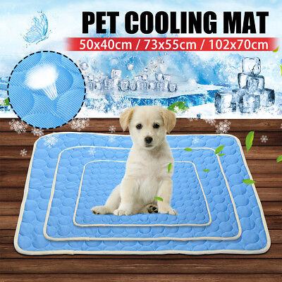 AU Chilly Ice Silk Mat Cooling Pet Dog Cat Bed Indoor Cool Pad Cold Mattress