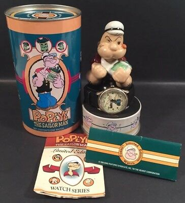 1994 Fossil Limited Edition Popeye The Sailor Man Watch Tin & Ceramic Figurine