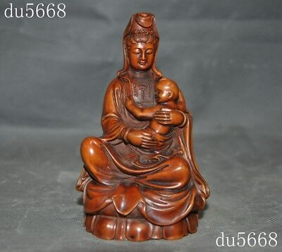 "5""old Chinese Boxwood wood Hand carved Kwan-Yin GuanYin Buddha Boy statue"