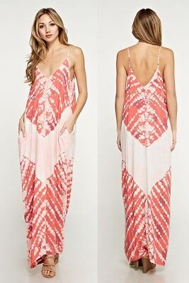 dd46e56e9ad LOVE STITCH Cherry Cream BerryTie Dye Zuma Mila Cocoon Maxi Dress w  Pockets