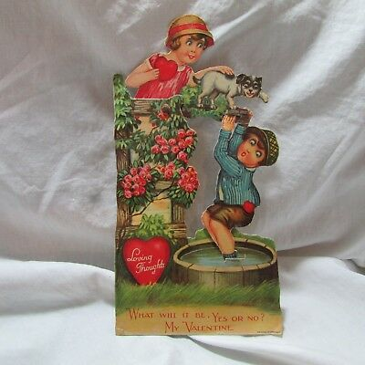 Vintage German Made Mechanical Moving Valentine Greeting Card, Boy, Girl & Puppy