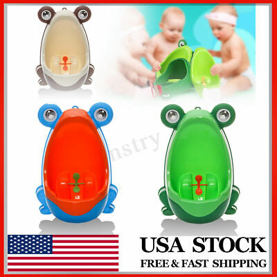 Kid Potty Training Toilet Infant Toddler Wall-Mounted Vertical Urinal Frog Shape