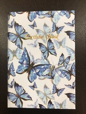 Birthday Book Butterflies Blue with gold edging 95mm x 130mm