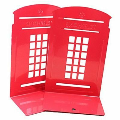 2X(1 Pair London Telephone Booth Design Anti-Skid Bookends Book Shelf Hold F4G2)