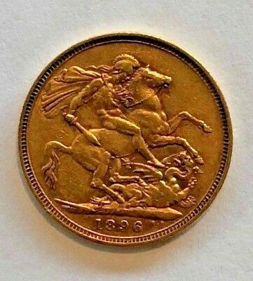 1896 Gold Full Sovereign Coin: Queen Victoria Veiled Head, St George