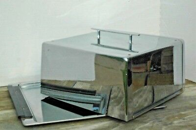 """Vintage Chrome Stainless Steel Square Cake Carrier Locking Cover Holds 10"""" Cake"""