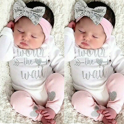 US Baby Girl Clothes Romper Bodysuit Jumpsuit + Leg Warmers+ Headband Outfit Set