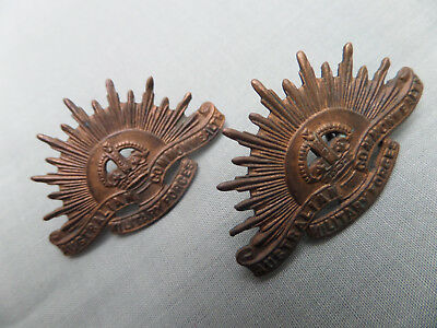 Pair Original WW1 Era Australian Army Rising Sun Brass Collar Badges
