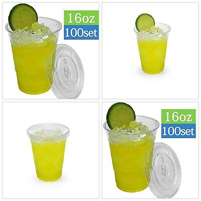 PLASTIC CUPS Flat Lids Disposable Crystal Clear Cup Cold Drinks 100 Sets (16 oz)