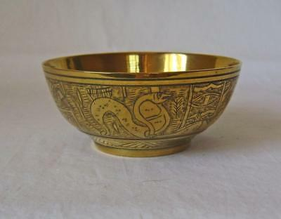 Vintage Egyptian Brass Bowl Engraved with Sphinx, Snake and Pyramids C.1920s
