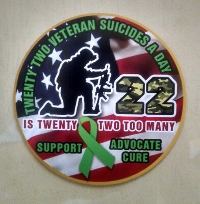 """Veteran Suicide Awareness 22 A Day Support Advocate Decal (4"""")"""