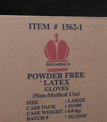 Poly King Products 1562 Powder Free Latex Gloves LARGE 100/box QTY 3 Boxes