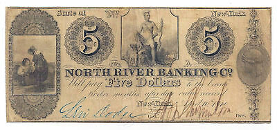 1840 The North River Banking Co., New York - Five Dollar Obsolete Note