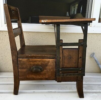 Antique Solid Wood & Metal Child Student School Desk W/ Drawer